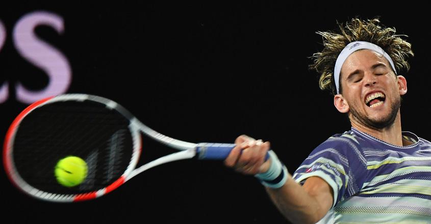 Dominic Thiem in action during his Australian Open clash against Rafael Nadal.