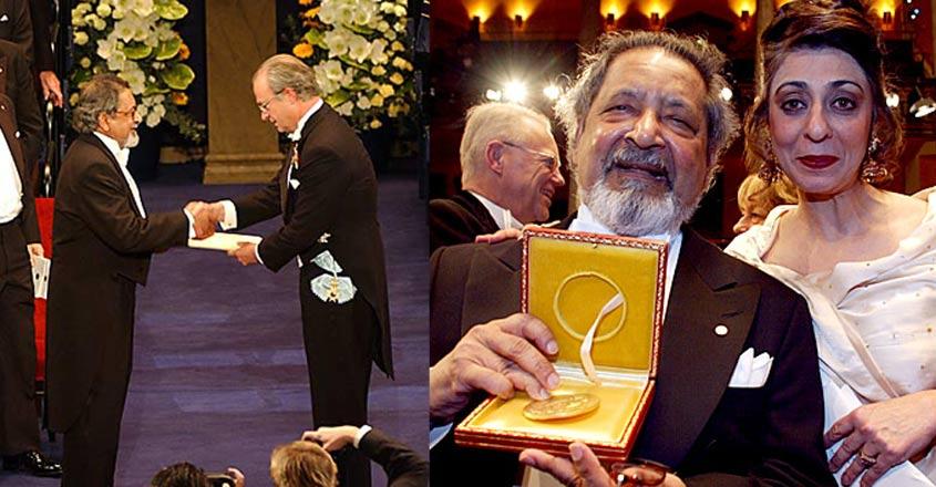 VS Naipaul recieving Nobel Prize for Literature in 2001