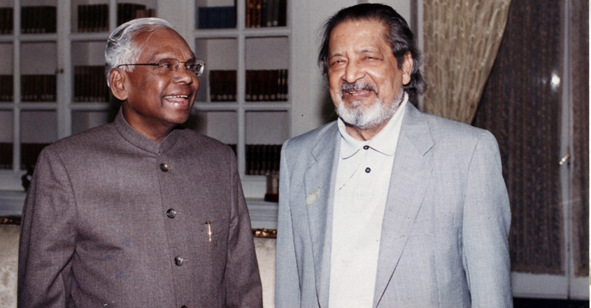 The then Indian president K R Narayanan with V S Naipaul