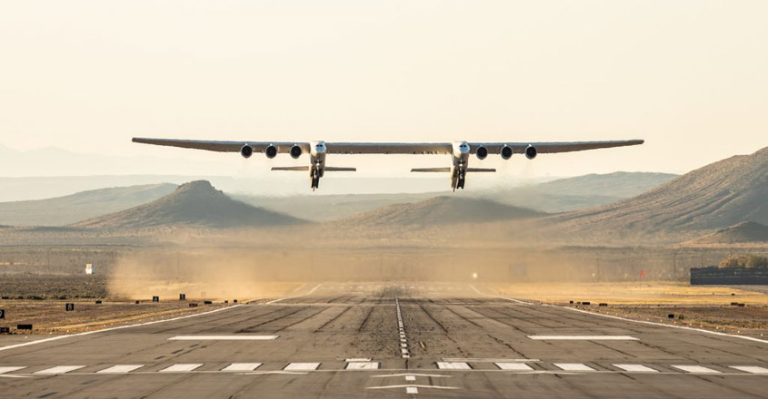 World's largest plane Stratolaunch with wingspan bigger than football stadium makes historic flight
