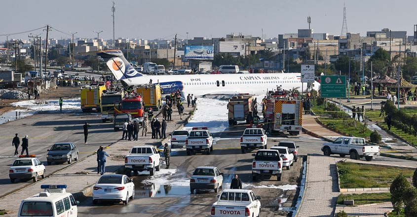 Aging Iran airliner carrying 144 crash-lands on highway