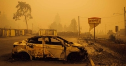Scores of wildfires scorch US West Coast, killing at least nine
