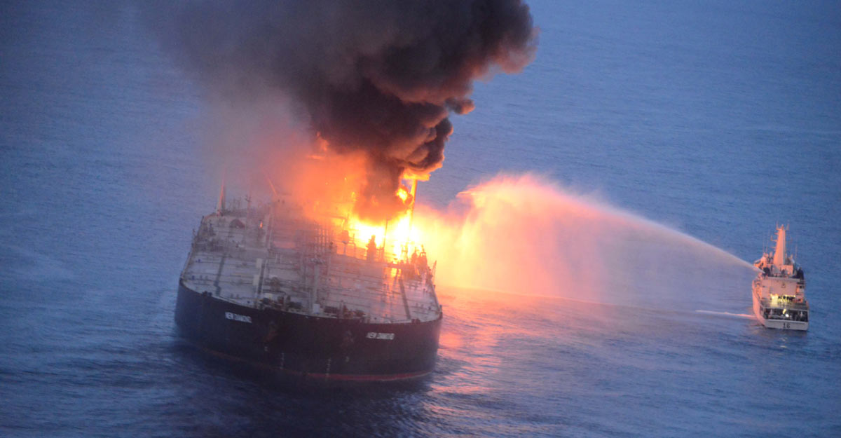Sri Lanka tows supertanker chartered by IOC away from coast after fire