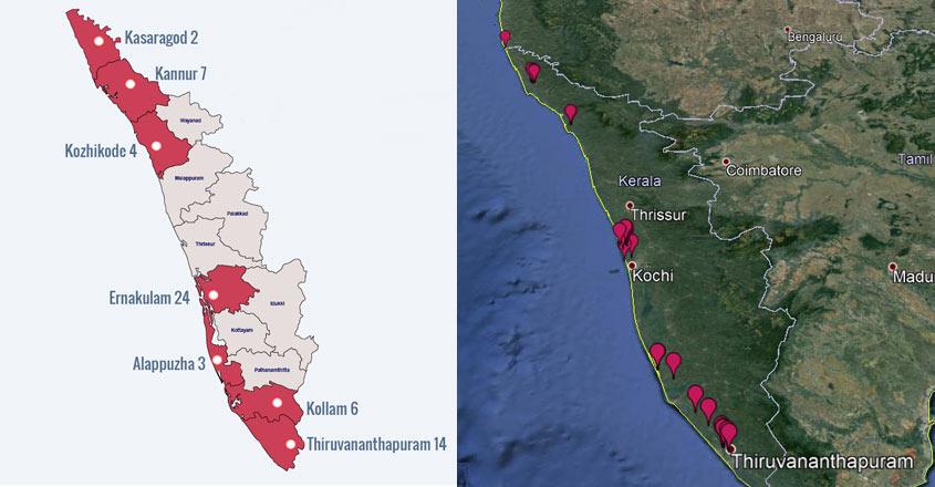 In maps: 65 major Coastal Regulation Zone violations in Kerala
