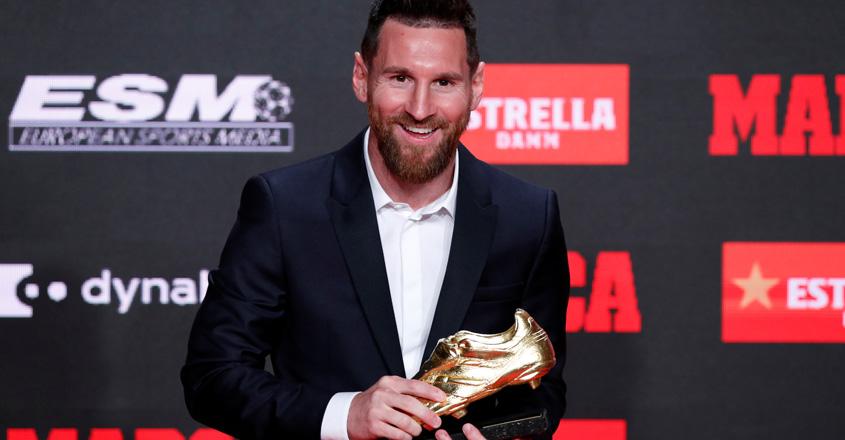 Barcelona's Messi receives record sixth European Golden Shoe
