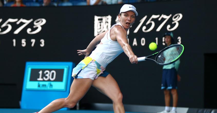 Simon Halep in action during her Australian Open semifinal match against Garbine Muguruza