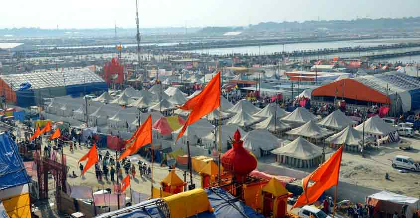 Prayagraj: A view of tents installed for pilgrims at Kumbh Mela premises in Prayagraj, on Jan 15, 2019. On the wee hours of Tuesday, thousands of faithful thronged the Kumbh Mela site and took the holy dip at Sangam -- the confluence of rivers Ganga, Yamuna and the mythical Saraswati -- to mark the onset of the Kumbh Mela on the auspicious day of Makar Sankranti. (Photo: IANS)