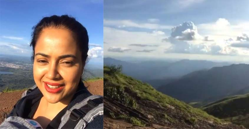Sameera Reddy climbs Karnataka's highest peak with her two-month old