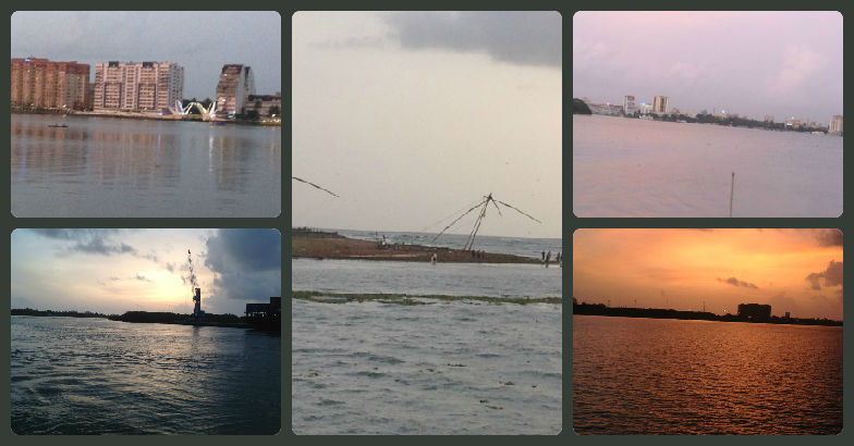 As the sun sets over Kochi