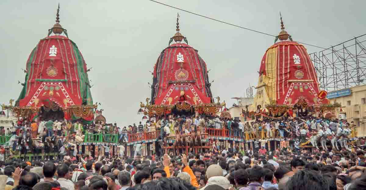 Puri, Orissa, India - August 9, 2011: A huge gathering of devotees from different parts of India at Puri on the occasion of ratha yatra, Puri, Orissa, India