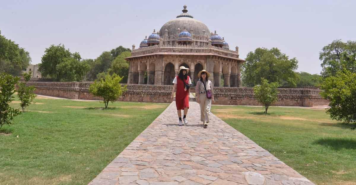 New Delhi: Visitors at Humayun's Tomb in New Delhi on June 15, 2019. (Photo: IANS)