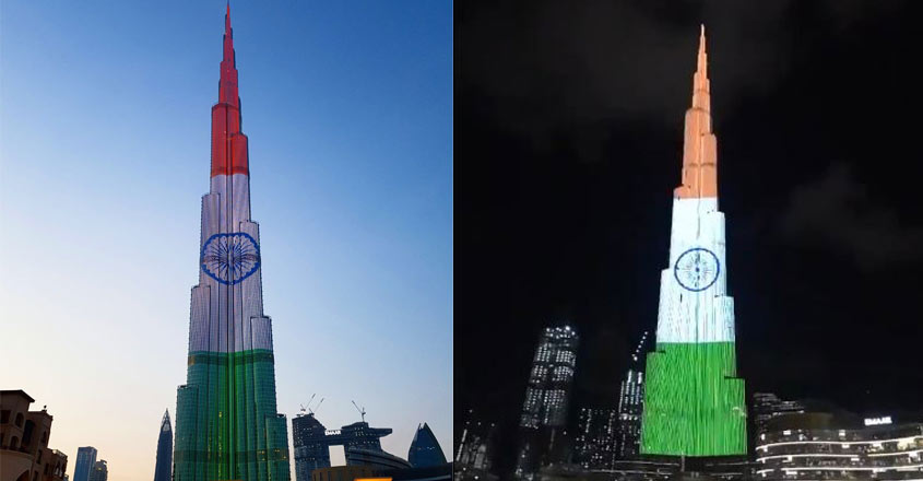 Dubai's Burj Khalifa lights up in Indian flag colours