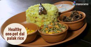 Healthy one-pot dal palak rice