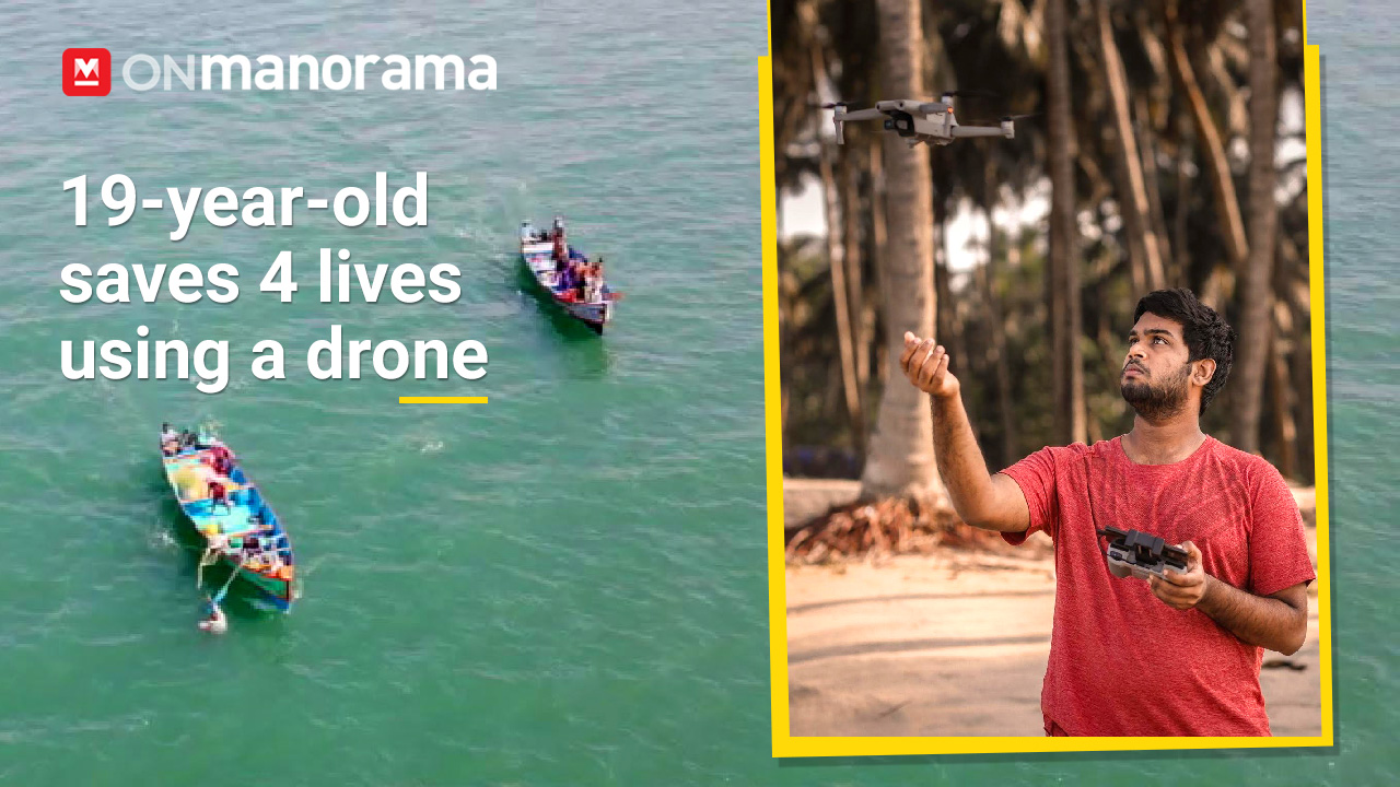 19-year-old Dewang rescues four fishermen using his drone in Thrissur