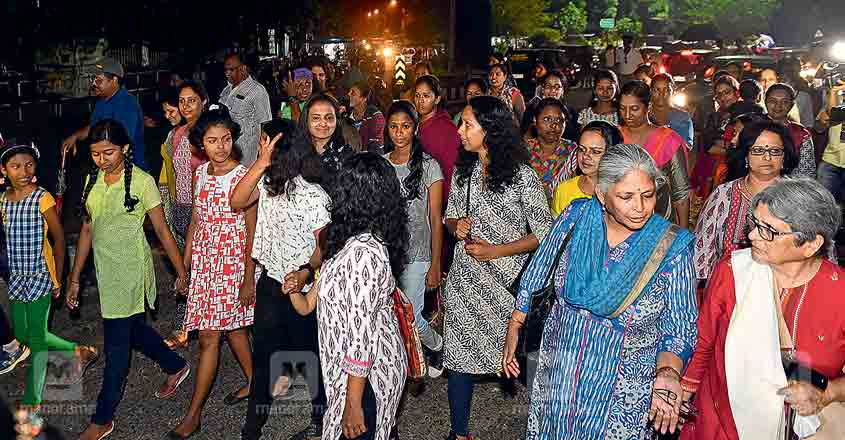 Hundreds of Kerala women take to the streets during night walk on Nirbhaya Day